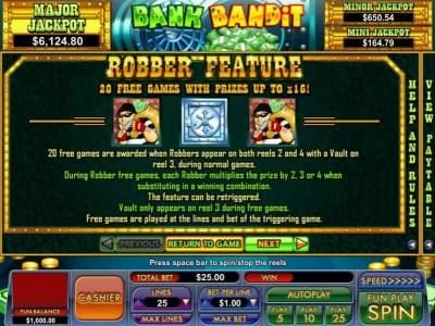 Slot Madness featuring the Video Slots Bank Bandit with a maximum payout of Jackpot