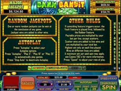 random jackpots and general game rules
