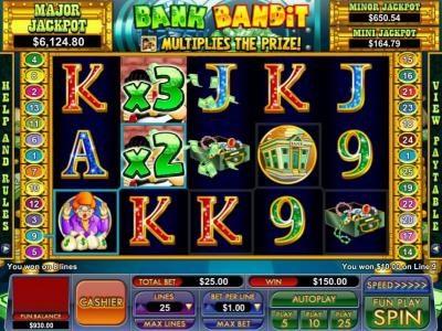 multiple winning paylines triggers a $150 jackpot