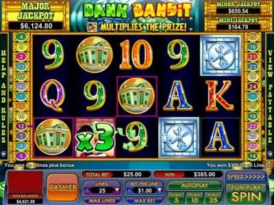 another $385 jackpot triggered by 7 lines plus bonus