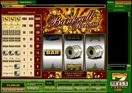 Play slots at Noxwin: Noxwin featuring the Video Slots Bankroll Reload 1 Line with a maximum payout of $30,000