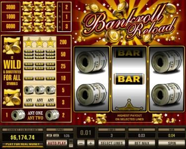 Play slots at Buran: Buran featuring the Video Slots Bankroll Reload 3 Lines with a maximum payout of $30,000
