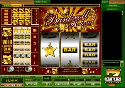 Winward featuring the Video Slots Bankroll Reload 5 Lines with a maximum payout of $30,000