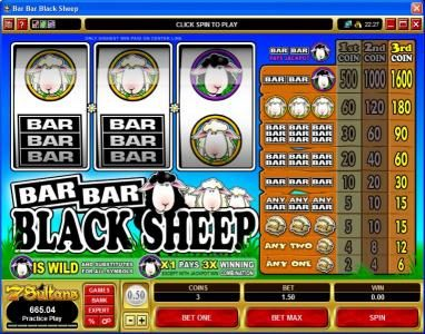 Play slots at First Web: First Web featuring the video-Slots Bar Bar Black Sheep with a maximum payout of $24,000