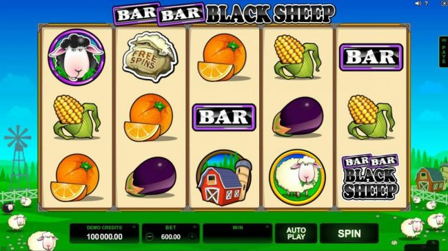 Play slots at Platinum Play: Platinum Play featuring the Video Slots Bar Bar Black Sheep 5 Reels with a maximum payout of $95,000
