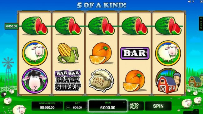 Grand Mondial featuring the Video Slots Bar Bar Black Sheep 5 Reels with a maximum payout of $95,000