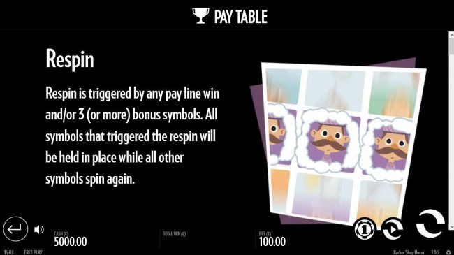 Barber Shop Uncut :: Respin is triggered by any pay line win and/or 3 (or more) bonus symbols.