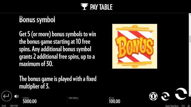 Get 5 or more bonus symbols to win the bonus game starting at 10 free games.