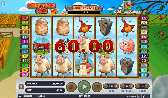 Lucky Dino featuring the Video Slots Barnstormer Bucks with a maximum payout of $3,000,000