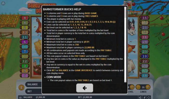 Barnstormer Bucks :: General Game Rules