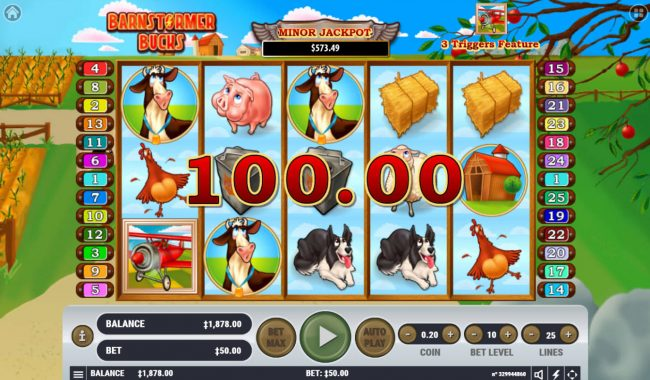 Winward featuring the Video Slots Barnstormer Bucks with a maximum payout of $3,000,000