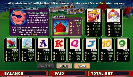 Miami Dice featuring the video-Slots Barnyard Boogie with a maximum payout of 4,000x