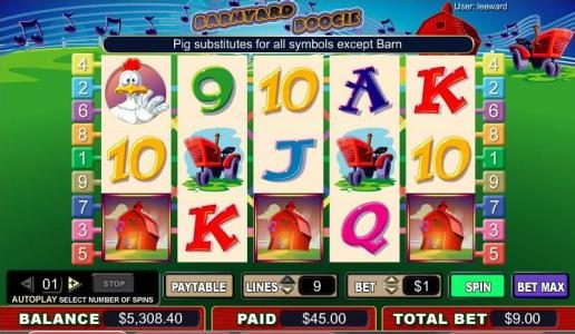 Play slots at Casino Red Kings: Casino Red Kings featuring the video-Slots Barnyard Boogie with a maximum payout of 4,000x
