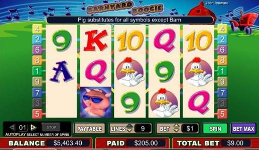 Orientxpress featuring the video-Slots Barnyard Boogie with a maximum payout of 4,000x