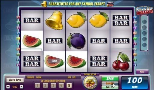 DruckGluck featuring the Video Slots Bars and Bells with a maximum payout of $125,000