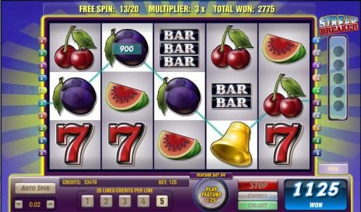 Miami Dice featuring the Video Slots Bars and Bells with a maximum payout of $125,000