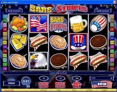Reel Vegas featuring the Video Slots Bars & Stripes with a maximum payout of $500,000