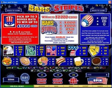 Yukon Gold featuring the Video Slots Bars & Stripes with a maximum payout of $500,000
