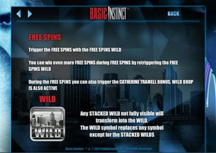 Dasistcasino featuring the Video Slots Basic Instinct with a maximum payout of $1,500
