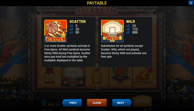 Basketball :: Wild and Scatter Symbol Rules