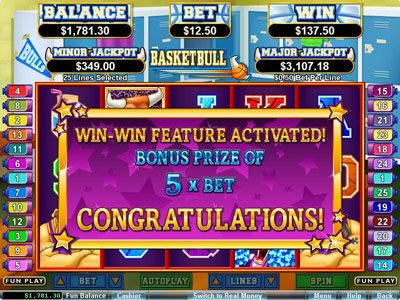 Aladdins Gold featuring the Video Slots Basketbull with a maximum payout of $250,000