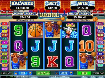 Palace of Chance featuring the Video Slots Basketbull with a maximum payout of $250,000