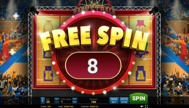 Basketball :: 8 Free Spins Awarded