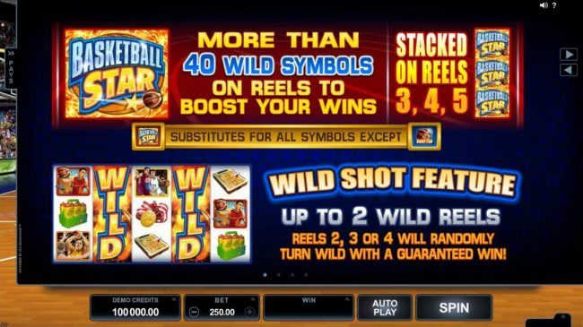 Basketball Star :: More than 40 wild symbols on reels to boost your wins, stacked on reels 3,4 and 5. Wild Shot feature, up to 2 wild reels, reels 2, 3 or 4 will randomly turn wild with a guaranteed win!