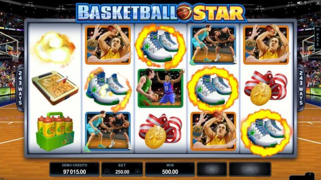 Basketball Star :: A five of a kind triggers a 500.00 Big Win!