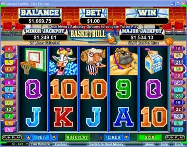 Cool Cat featuring the Video Slots Basketbull with a maximum payout of $250,000