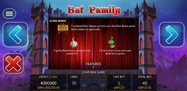 VIP Casino featuring the Video Slots Bat Family with a maximum payout of $12,500,000