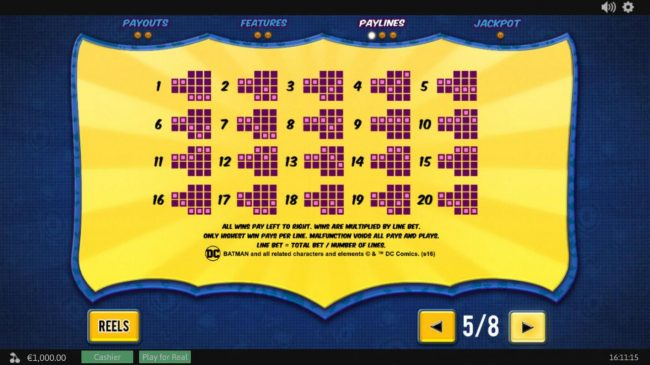 Betfair featuring the Video Slots Batman and The Batgirl Bonanza with a maximum payout of Jackpot