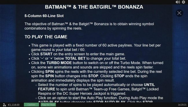 Vegas Winner featuring the Video Slots Batman and The Batgirl Bonanza with a maximum payout of Jackpot
