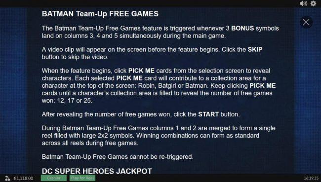Slots Angel featuring the Video Slots Batman and The Batgirl Bonanza with a maximum payout of Jackpot