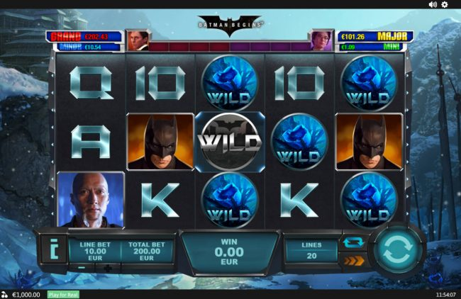 Betfair featuring the Video Slots Batman Begins with a maximum payout of $1,000,000