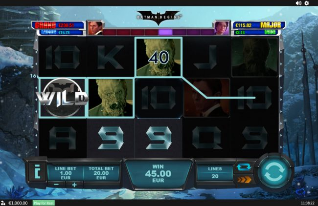 Coral featuring the Video Slots Batman Begins with a maximum payout of $1,000,000