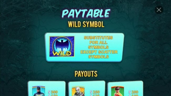 Bat Wild substitutes for all symbols except scatter symbols.