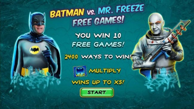 Batman vs Mr. Freeze Free Games trigged. 10 free games with 2400 ways to win.