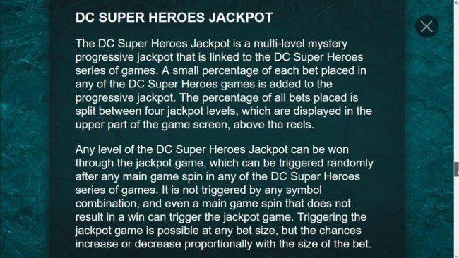 DC Super Heroes Progressive jachpot rules
