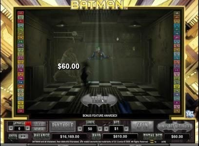 batarang collects 60 coin prize for hitting inmate
