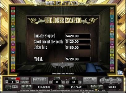 the joker escoped - 720 coin bonus feature payout