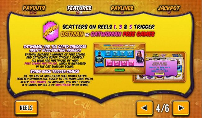 Bonus scatters on reels 1, 3 and 5 trigger Batman vs Catwoman free games