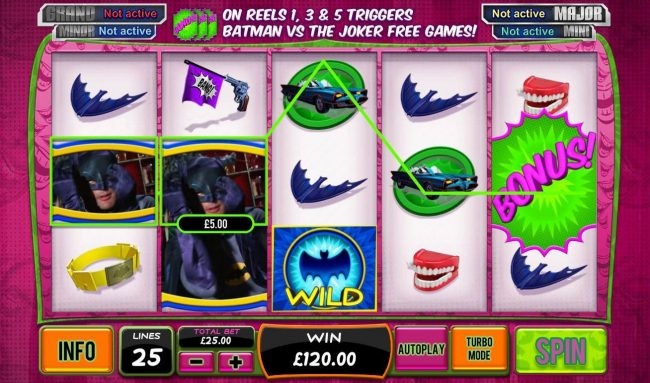 Slots Angel featuring the Video Slots Batman and the Joker Jewels with a maximum payout of Jackpot