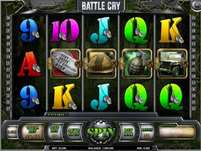 Campeon featuring the Video Slots Battle Cry with a maximum payout of $30,000