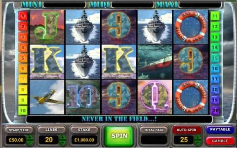 Battle of the Atlantic :: main game board featuring five reels , twenty paylines and a progressive jackpot
