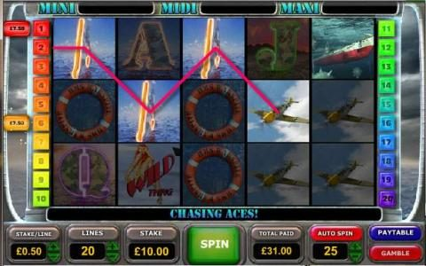 Battle of the Atlantic :: another example of multiple winning paylines triggering a 31.00 jackpot