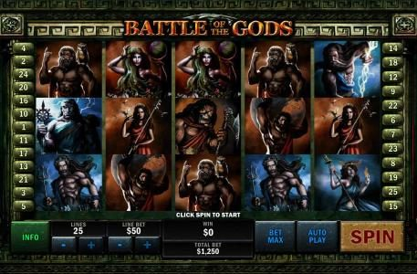 Battle of the Gods :: Main game board featuring five reels and 25 paylines with a $500,000 max payout