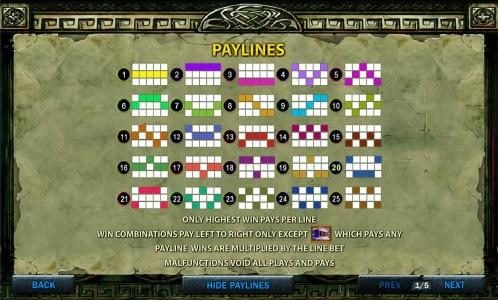 Battle of the Gods :: Payline Diagrams 1-25
