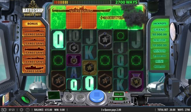 Completely destroy any ship above the reels and earn free games