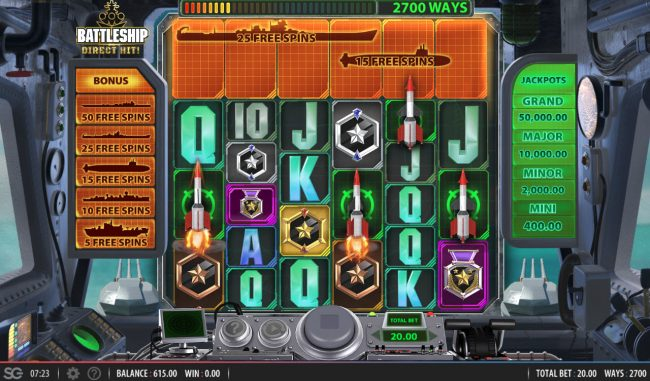 Battleship Direct Hit :: Rockets landing on the reels will launch and destroy any ship directly above them